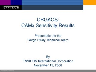 CRGAQS: CAMx Sensitivity Results