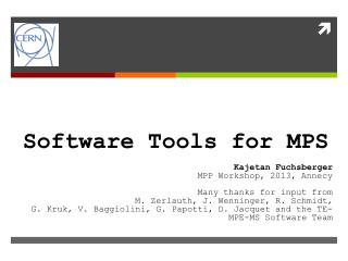 Software Tools for MPS