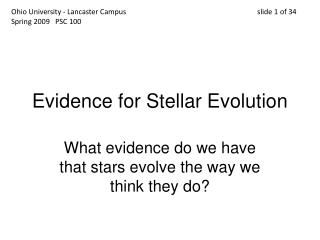 Evidence for Stellar Evolution