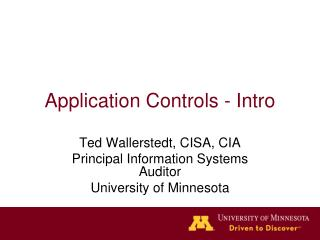 Application Controls - Intro