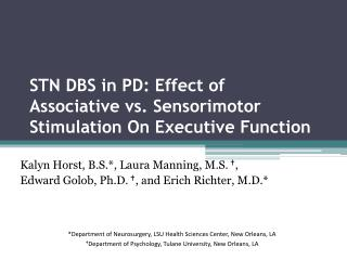 STN DBS in PD: Effect of Associative vs. Sensorimotor Stimulation On Executive Function