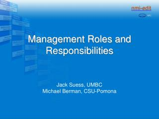 Management Roles and Responsibilities