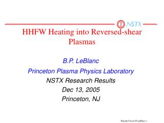 HHFW Heating into Reversed-shear Plasmas