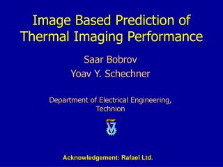 Image Based Prediction of Thermal Imaging Performance