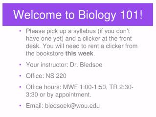 Welcome to Biology 101!