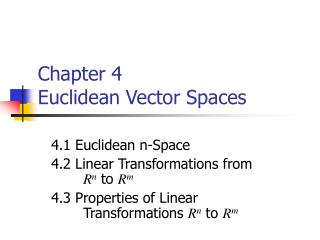 Chapter 4   Euclidean Vector Spaces