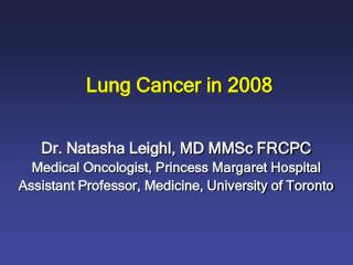 Lung Cancer in 2008