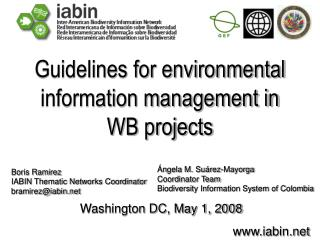 Guidelines for environmental information management in WB projects