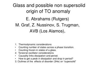 Glass and possible non supersolid origin of TO anomaly