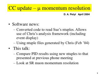 CC update –  m  momentum resolution