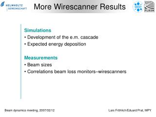 More Wirescanner Results