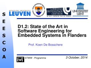 D1.2: State of the Art in Software Engineering for Embedded Systems in Flanders