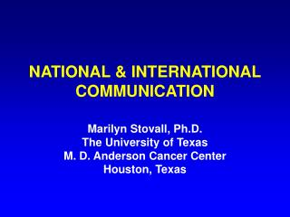 NATIONAL & INTERNATIONAL COMMUNICATION