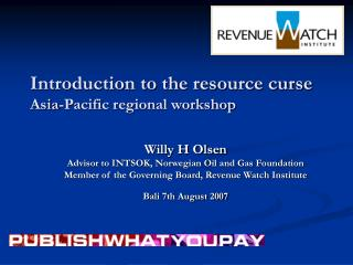 Introduction to the resource curse Asia-Pacific regional workshop