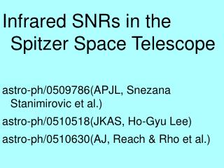 Infrared SNRs in the Spitzer Space Telescope astro-ph/0509786(APJL, Snezana Stanimirovic et al.)