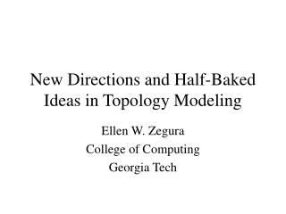 New Directions and Half-Baked Ideas in Topology Modeling