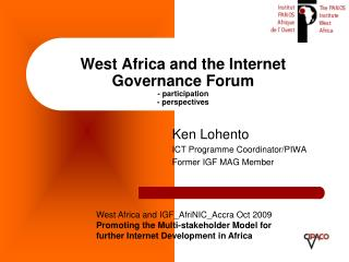 West Africa and the Internet Governance Forum - participation - perspectives