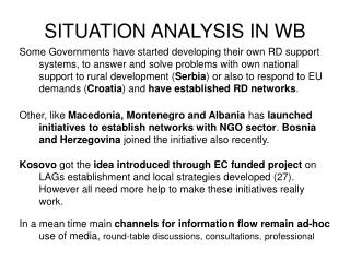 SITUATION ANALYSIS IN WB