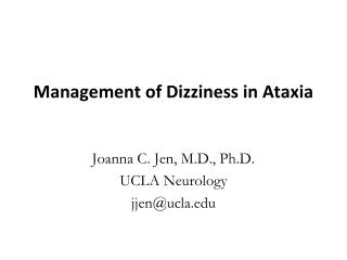 Management of Dizziness in Ataxia