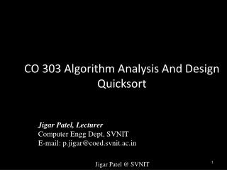CO 303 Algorithm Analysis And Design Quicksort