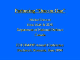 "Partnering ""One-on-One"""