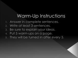 Warm-Up Instructions