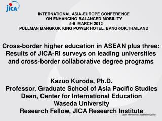 INTERNATIONAL ASIA-EUROPE CONFERENCE  ON ENHANCING BALANCED MOBILITY