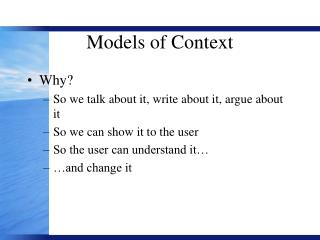 Models of Context