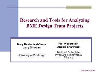 Research and Tools for Analyzing BME Design Team Projects