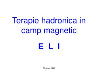 Terapie hadronica in camp magnetic E  L  I