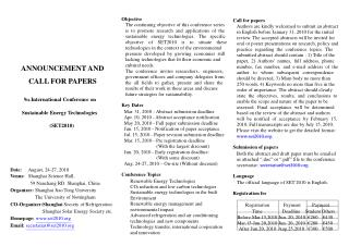 ANNOUNCEMENT AND 				CALL FOR PAPERS 9 th  International Conference on