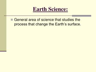 Earth Science: