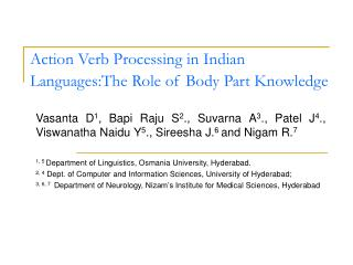 Action Verb Processing in Indian Languages:The Role of Body Part Knowledge