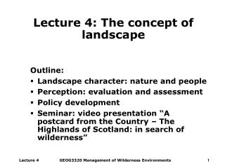 Lecture 4: The concept of landscape