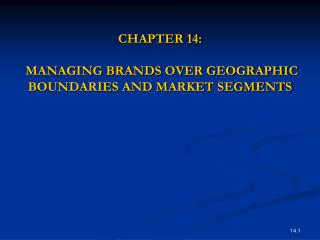 CHAPTER 14:  MANAGING BRANDS OVER GEOGRAPHIC BOUNDARIES AND MARKET SEGMENTS