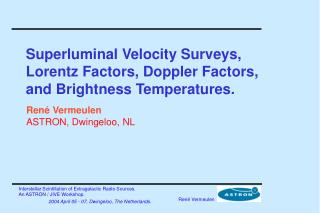 Superluminal Velocity Surveys, Lorentz Factors, Doppler Factors, and Brightness Temperatures.