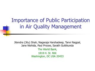Importance of Public Participation in Air Quality Management
