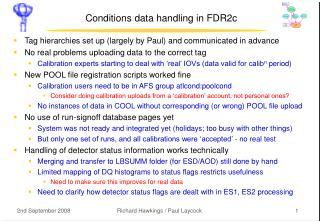 Conditions data handling in FDR2c
