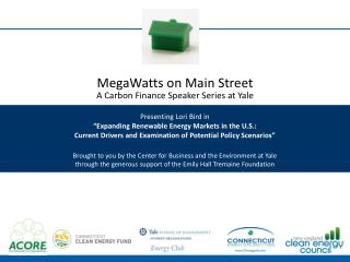MegaWatts on Main Street A Carbon Finance Speaker Series at Yale Presenting Lori Bird in