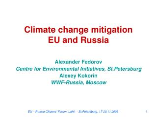 Climate change mitigation EU and Russia