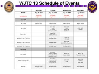 WJTC 13 Schedule of Events