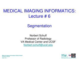 MEDICAL IMAGING INFORMATICS: Lecture # 6 Segmentation