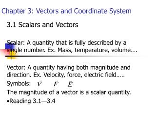 Chapter 3: Vectors and Coordinate System