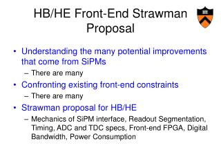 HB/HE Front-End Strawman Proposal