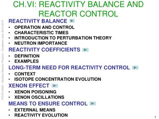 CH.VI:  REACTIVITY BALANCE AND REACTOR CONTROL