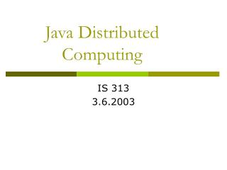 Java Distributed Computing