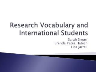 Research Vocabulary and International Students