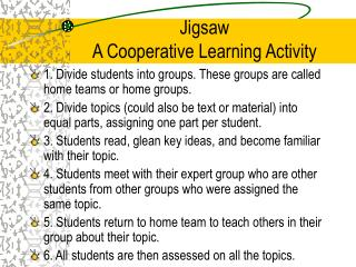 Jigsaw A Cooperative Learning Activity
