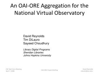 An OAI-ORE Aggregation for the National Virtual Observatory