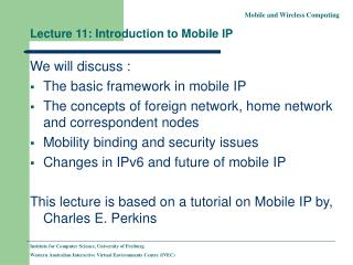 Lecture 11: Introduction to Mobile IP